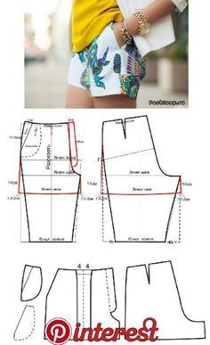 Sewing Shorts Pattern Costura 68 New Ideas Dress Sewing Patterns, Sewing Patterns Free, Free Sewing, Clothing Patterns, Coat Patterns, Pattern Sewing, Blouse Patterns, Free Knitting, Knitting Patterns