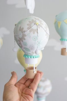 Gender Neutral Baby Mobile Grey Aqua and by sunshineandvodka
