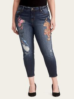 72e35c40a4d Plus Size Runway Collection Girlfriend Jeans - Distressed Dark Wash with  Painted Detail