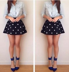 Shared by Meri. Find images and videos about girl, fashion and style on We Heart It - the app to get lost in what you love. Cute Fashion, Girl Fashion, Fashion Looks, Fashion Outfits, Denim Fashion, The Dress, Dress Skirt, Skater Skirt, Outfits For Teens