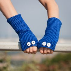 Blue Fingerless Gloves / Crochet Button Arm Warmers / Fall Winter Accessories / Blue White Dots Gloves / Fashion Accessories /Christmas Gift