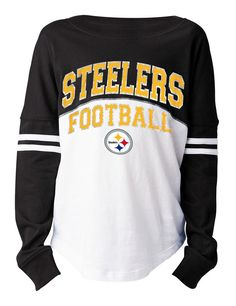 805c6a8f4 Pittsburgh Steelers Girls Varsity Crew Long Sleeve T-Shirt
