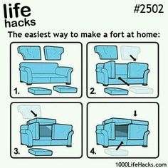 Life Hacks #250: Easiest way to make a fort at home.  Got to try this; better than All over floor!!