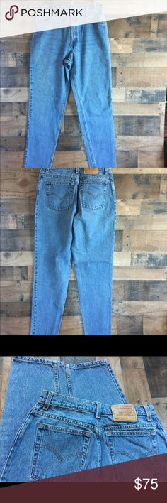 Levi's 550 Vintage High Waist Tapered Leg Mom Jean Vintage Levi's, these are the 550, Tapered Leg and high waisted. Also known as the Mom jeans. Size 12 long, these are in near perfect condition. Minor discoloration due to the vintage nature. Levi's Jeans