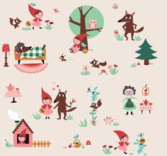 by Linna Morata, Little Red Hood, Little Red Ridding Hood, Cool Patterns, Print Patterns, Red Riding Hood Party, Drawing For Kids, Cartoon Drawings, Cute Art, Graphic Illustration
