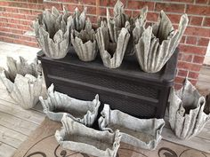 Latest creations, hypertufa planters using old household towels
