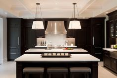 Modern kitchen design with ebony stained kitchen cabinets, blue glass tiles backsplash, white quartz counter tops sink in kitchen island, French curve range hood, coffered ceiling and Urban Electric Co.