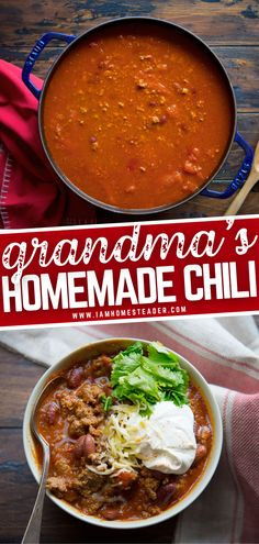 Your staple food even made better! Grandma's Homemade Chili will remind you of home. This easily adaptable recipe can be used as toppings on hotdogs or cooked in a crockpot. Either way, this comfort food is relatively simple to make, you won't break a sweat. Pin this! Best Crockpot Recipes, Cooking Recipes, Chili Seasoning Mix, Garlic Chicken Recipes, Homemade Chili, Food Staples, Ground Beef, Fork, Lamb
