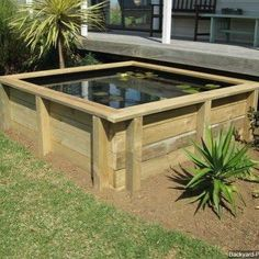 Shared by backyard_pond_guide #landscape #contratahotel (o) http://ift.tt/1QuUjqX example of a above ground pond.  #pond #waterplants  #spring  #backyardpond  #watergarden   #fish
