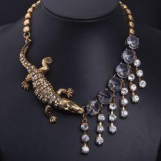 Rhinestone Studded Alligator Necklace