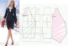 Modelagem vestido transpassado. Fonte: https://www.facebook.com/photo.php?fbid=671277976234477=a.262773027084976.75978.143734568988823=1