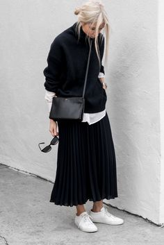 Knit Sweater + Pleated Maxi Skirt + Sneakers