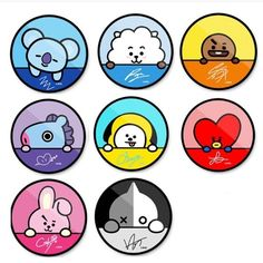 Popsocket and signature of BTS 💝💝💝 Pop Stickers, Tumblr Stickers, Kawaii Stickers, Printable Stickers, Bts Chibi, Bts Drawings, Kawaii Drawings, Kawaii Wallpaper, Bts Wallpaper
