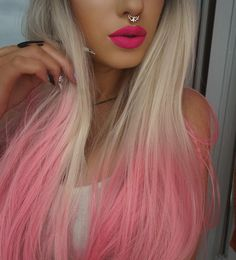 Red Wigs Lace Frontal Wigs Long White Hair Wig Red Curly Lace Front Re – shaddocktal Pink Hair Tips, Pink Blonde Hair, Pink Ombre Hair, Blonde With Pink, Dyed Hair Pastel, Purple Wig, Anastasia, Ombre Rose Gold, Cabelo Ombre Hair