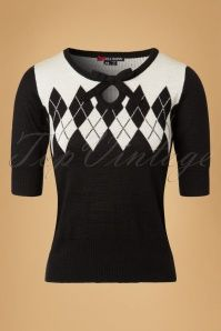 40s Chantal Jumper in Black and Ivory