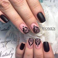 Beautiful evening nails, Beautiful nails 2016, Beige dress nails, Black and beige nails, Black dress nails, Delicate nails, Evening dress nails, Evening nails