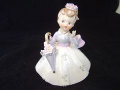 VINTAGE LEFTON LUSTERWARE GIRL WITH A PARASOL FIGURINE WITH STICKER