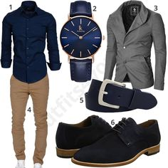 Business outfit for men with dark blue Amaci & Sons shirt, Alienwork wristwatch, full leather belt, Lloyd business shoes, beige chino and light gray moderno jacket.  1. Shirt► amzn.to/2KKMQDH 2. Uhr► amzn.to/2ImaYy6 (-30%)  3. Jacket► amzn.to/2K3sHaB 4. Chino► amzn.to/2KKMDQM 5. Belt► amzn.to/2KISSoe 6. shoes► amzn.to/2ru2muF Blue Shirt Outfit Men, Blue Shoes Outfit, Stylish Men, Men Casual, Elegantes Business Outfit, Blue Fashion, Mens Fashion, Men's Business Outfits, Business Shoes