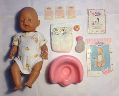 Secondhand Baby Born doll for sale. In good condition as it was looked after. Doll comes in original outfit with a nappy on. Also included are a potty, bottle with 2 lids, spare nappy, 3 sachets of food, birth certificate and instruction booklet. Asking R300, but price is negotiable.