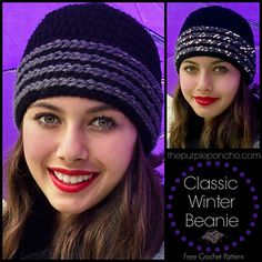 The Classic Winter Beanie is just that. A simple double crochet beanie with classic stripes around the brim. This hat would be great for Men & Women. I love working with the Red Heart Reflective Yarn, it adds another dimension to the look. It's also great for safety too! This hat has so much potential. It would also look great if made with variegated or colorful yarns too, use your style to make it your own.