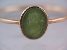 Antique Victorian 14k Rose Gold Green Stone Intaglio Wax Seal Ring $9.99 sz6-1/4