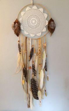 Magic dreamcatcher with striped feathers and vintage lace doily by Rachael Rice https://www.etsy.com/listing/171503010/sweet-adeline-dreamcatcher-with-vintage?
