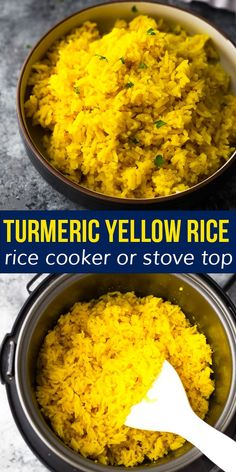 This turmeric yellow rice is full of aromatic flavors and makes an elegant side dish! Simple to prep in a rice cooker or on the stove top. #sweetpeasandsaffron #turmericrice #vegan #glutenfree #sidedish #holidays #dairyfree Rice Cooker Recipes, Slow Cooker Freezer Meals, Tofu Recipes, Dairy Free Recipes, Side Dish Recipes, Easy Dinner Recipes, Recipies, Gluten Free, Vegetarian Meal Prep