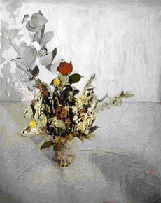 GILLIAN CARNEGIE painting of dying flowers