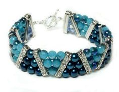 Shades of Blue Beaded Bracelet | AllFreeJewelryMaking.com