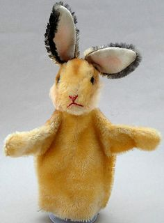 Vintage Steiff Mohair Hand Glove Puppet Rabbit glass eyes 1960s