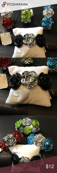 Set of 4 NWT Stretch Rose Bracelet These NWT Rosebud statement stretch bracelets are so much fun.  What a great accent for any look, occasion, or outing.  YOU ARE BUYING ALL 4 NWT FOR $12. I am passing my savings on to you. A must have to add to your collection. Thank you for shopping with Boutique Treasures 🌸 Carla MARISOL Jewelry Bracelets