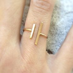 Double Bar Ring Minimal 14k Gold Filled Geometric by marigoldmary