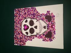 DIY sugar skull art by Me. Canvas board jewels and sharpie.