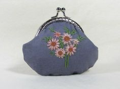 Hand embroidered cotton coin purse  pink flowered purse by JRsbags
