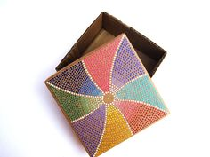 Your place to buy and sell all things handmade Cardboard Box Crafts, Painted Boxes, Dot Painting, Wood Boxes, Rainbow Colors, Upcycle, Original Art, Recycling, Projects To Try