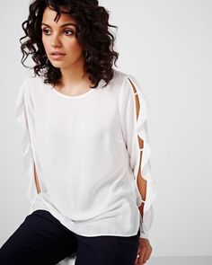 Long Sleeve Ruffle Blouse