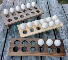 Rustic wooden egg trays make a great gift for home cooks or bakers in your life or add farmhouse charm to your own kitchen. Diy Wooden Projects, Woodworking Projects Diy, Fine Woodworking, Wooden Diy, Wood Crafts, Fun Crafts, Egg Storage, Egg Holder, Cute Home Decor