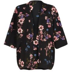 Just bought this Black Floral Print Kimono to wear with bright blue short shorts.