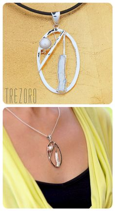 Pendant Necklace      Sterling Silver; Natural Pearl      Geometry Collection