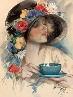 """This Harrison Fisher painting was in the notebook and named """"Time for tea"""". This looks like Kate. Is it? ................."""