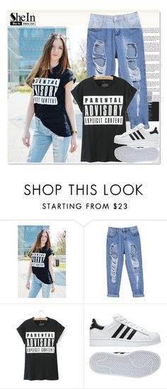 """SheIn 7"" by alexandra-provenzano ❤ liked on Polyvore featuring adidas, women's clothing, women's fashion, women, female, woman, misses and juniors"