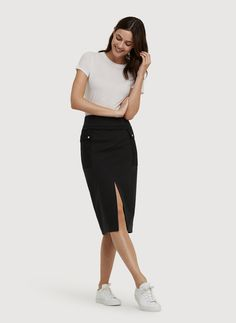 Make power striding a breeze in the Checkpoint Midi Skirt. | Kit and Ace
