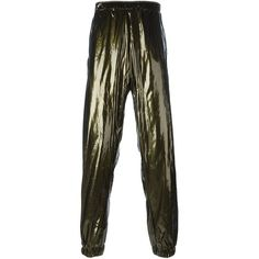 Astrid Andersen side stripe track pants ($420) ❤ liked on Polyvore featuring men's fashion, men's clothing, men's activewear, men's activewear pants, green and track pants