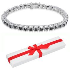 Finesque Sterling Silver 3 4/5ct TDW  Diamond Tennis Bracelet ($477) ❤ liked on Polyvore featuring jewelry, bracelets, sparkle bracelet, pandora jewelry, tennis bracelet, sterling silver bangles and magnetic clasp bracelet