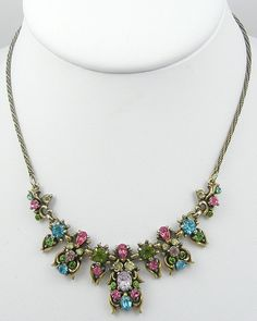 Hollycraft 1950 Pastel Rhinestone Necklace - Garden Party Collection Vintage Jewelry