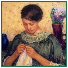 Lydia Sewing Embroidering by American Impressionist Artist Mary Cassatt Counted Cross Stitch or Counted Needlepoint Pattern