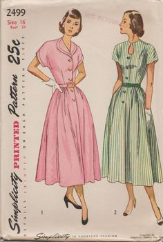 Simplicity 2499 / Vintage 40s Sewing Pattern / Dress / Size 16