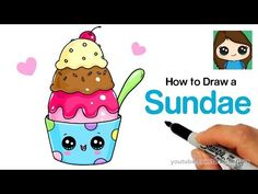 How to Draw an Ice Cream Sundae Easy and Cute - YouTube