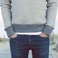 A men's sweater over jeans... For me.