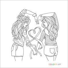 Bff Coloring Pages People Coloring Pages, Emoji Coloring Pages, Coloring Pages For Teenagers, Barbie Coloring Pages, Halloween Coloring Pages, Cute Coloring Pages, Coloring Pages To Print, Free Coloring, Adult Coloring Pages